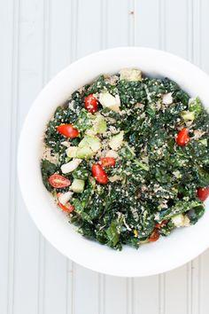 Shredded Chicken, Kale + Avocado Salad via the Simply Real Health Cookbook // www.simplyrealhealth.com //
