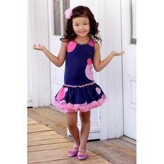 New tutu dress from Ooh! La. La! Couture Holiday Cruise Collection.     Circle glitter print dress with tutu underskirt and rhinetsone trim.