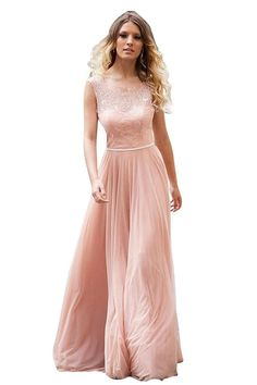 JoyVany Beach Lace Long Bridesmaid Dresses Chiffon Wedding Party Dresses >>> Trust me, this is great! Click the image. : Bridesmaid Dresses