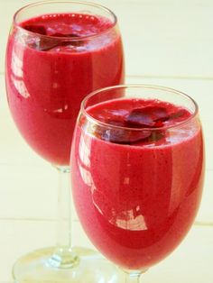 1 beet, peeled and chopped ($.50)  2 cups frozen strawberries ($1.20)  4 bananas, sliced and frozen ($.80)  2 cups almond milk ($.90)  a few drops stevia, optional