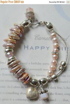 ON SALE pin bracelet mystic bracelet pink pearl by soulfuledges