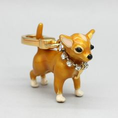 Gold Chihuahua Dog Charm Pendant Jewelry with box 3d Standing lovely cute dog charm