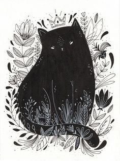 Black cat drawing, black cat painting, black cat art, black cats, cat i Art And Illustration, Illustration Inspiration, Cat Illustrations, Art Inspo, Art Mignon, Ouvrages D'art, Art Design, Painting & Drawing, Art Reference