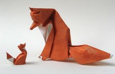 Origami: Paper fox family - makes me want to learn oragami. And adopt a fox. Diy Origami, Origami And Kirigami, Origami Paper Art, Diy Paper, Origami Artist, Origami Rhino, Origami Tutorial, Paper Cards, Papercraft