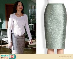 Jessica's white asymmetric jacket and floral jacquard skirt on Suits.  Outfit Details: http://wornontv.net/33825/ #Suits