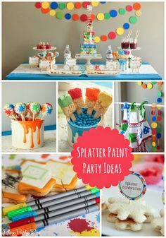 All sorts of great art party ideas, splatter paint party ideas, and splash party ideas all in one amazing party!