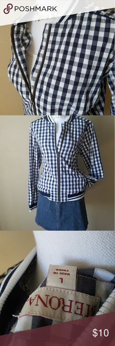Navy and White Plaid Jacket by Merona Brand New!! Has never been worn! Light zip up jacket. Pockets in the front. Pair with shorts on cool summer nights or wear with jeans either way it is realky adorable!!❤❤ MATCHES MINI BAG IN MY CLOSET BUNDLE FOR EXTRA SAVINGS!!! Merona Jackets & Coats