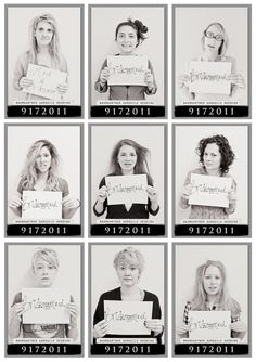 Morning after bridal party mugshots.