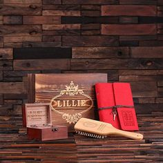 Personalized Gift Set for Her w/Keepsake Box – Paddle Brush, Journal, Treasure…