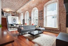 Brick ceiling and 12-foot windows in this Philadelphia industrial loft [2038 x 1366] : RoomPorn