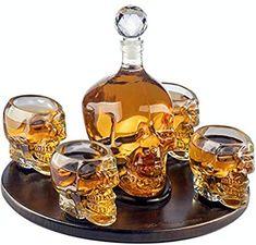 Large Skull Decanter with 4 Skull Shot Glasses, Round Wooden Tray. skull decanter set for whiskey, vodka, or other spirits. Bar A Vin, Liquor Dispenser, Vodka Shots, Whiskey Decanter, Whiskey Bottle, Cigars And Whiskey, Skull Decor, Crystal Skull, Scotch Whisky