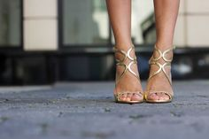 gold lace up shoes, white dress, summer style, wedding dress style #weddingshoes