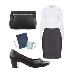 Complete your office look with Kieley heels from Bare Traps and the Eliza clutch from Therapy.