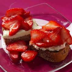 This Strawberry Bruschetta recipe is astoundingly good for minimal effort, this makes an indulgent weekend breakfast or anyday dessert. A judicious smear of mascarpone (half the fat of butter) is part of the luxury, but even lighter low-fat cream cheese will work as well. #healthy #dessert #appetizer @EatingWell