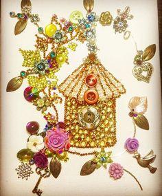 Vintage style Birdhouse mixed media/ Button Art