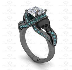 'Aphrodite' 1.85ct White Diamond and Aquamarine Skull Black Gold Engagement Ring