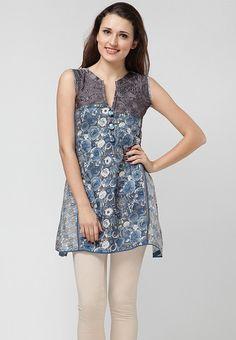 Sleeve Less Printed Blue Kurti Online Shopping - 18 Fire   18705WA92HMDINDFAS