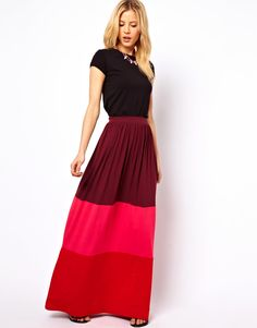ASOS Maxi Skirt in Color Block | More here: http://mylusciouslife.com/pinterest-stripes-polka-dots-and-pom-poms/