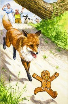 Running fox - The Gingerbread Boy - Robert Lumley - Ladybird Book/ Ladybird Books, Fox Art, Children's Book Illustration, Nursery Rhymes, Childhood Memories, Childrens Books, Fairy Tales, Gingerbread Man, Fabulous Fox