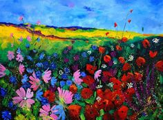 Field flowers painting  -  Pol Ledent Field flowers Art Print