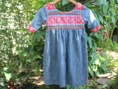 Scarlett - Little Girls Bohemian Style Dress In Chambray Blue With PInk