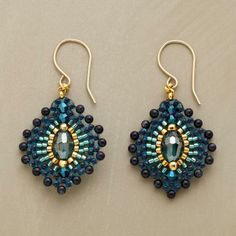 BLUE PLUME EARRINGS - no tutorial