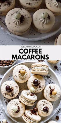 Fun Baking Recipes, Sweet Recipes, Cookie Recipes, Dessert Recipes, Gourmet Cupcake Recipes, Macaron Flavors, Macaron Filling, French Macaroon Recipes, Mocha Frosting
