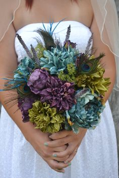 Peacock Wedding Bouquet Purple Peonies Teal Peonies by MyDayBouquet