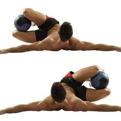 reverse russian twist with ball between the legs squeeze
