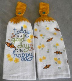 Crocheted Top Butterfly And Flowers Kitchen Towel Set   Butterfly Handle  Top Towels   Butterfly Hanging Towel Set   Butterfly Towels