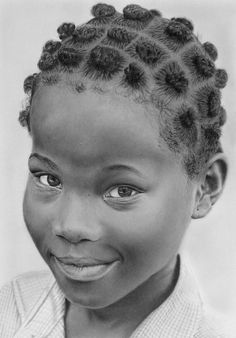 Graphite pencil drawing of a girl from Lomé, Togo on A4 Daler Rowney Airbrush Bristol board. Pencils: Various Mars Lumograph (6H to 8B), Koh-i-noor woodless Progresso (HB to 8B), F...
