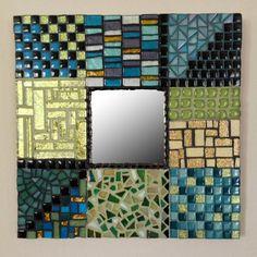 Decorative Mosaic Art Mirror Shimmering Mosaic Patchwork in Teal, Aqua and Peridot 10 x10 Custom Order