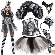 Be skeletal chic! Corset + tutu + collar = gothic glam. Mix it up your way... click for 20+ accessory ideas. #BeACharacter