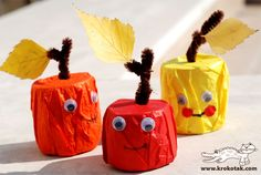 fall crafts = apples from t.p. tubes cut in half, tissue paper or colored tape, and pipe cleaners, with real leaves and googly eyes. :)