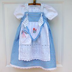 Alice Tea Party Apron Knot Dress Halloween Costume with Skeleton Key CHOOSE 6M - 6 years. $58.00, via Etsy.