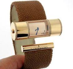 de Grisogono- Lipstick cylinder 18K Rose Gold and Diamond Watch.jpg (400×378)
