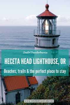 Are you tired of camping and boring motels while roadtripping and rather looking for unique accommodation on your Oregon roadtrip? Take a look at Heceta Head Lighthouse Bed and Breakfast. This unique place to stay on the Central Oregon Coast isn't only the perfect location for a special event like a wedding or great scenery for travel photography. Heceta Head Lighthouse offers hiking trails, viewpoints of the coastline and offers you a historical stay. Check out Heceta Head Lighthouse for its hi Oregon Travel, Travel Usa, America And Canada, South America, Pacific Northwest, Pacific Coast, Stay Overnight, Us Road Trip, Central Oregon