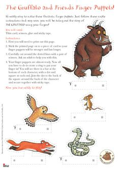 The Gruffalo and Friends Finger Puppets Gruffalo Activities, Gruffalo Party, The Gruffalo, Preschool Activities, Activities For Kids, Gruffalo's Child, Story Sack, Cycle 1, Album Jeunesse