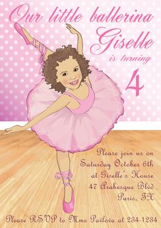 How stinkin'  cool! She draws the face to look  like  your child's pictures. Raya would love this! Ballerina Birthday Invitation - Illustrated from your photo DIGITAL FILE. , via Etsy.