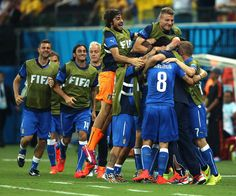 Italy teammates celebrate the first goal during the 2014 FIFA World Cup Brazil Group D match between England and Italy at Arena Amazonia on June 14, 2014 in Manaus, Brazil.