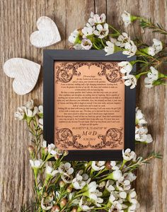 Wedding Vows Leather Anniversary Gift, 3rd anniversary, 9th anniversary, wedding vows traditional gift for couple, bride & groom gift