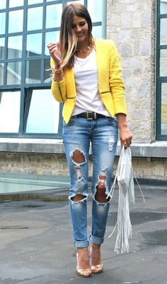 #summer #fashion ripped jeans yellow blazer outfit