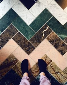 I fell in love with this coloured pink green and black marble chevron floor, reminiscent of the flooring at sketch in the pink room. Green and pink decor Floor Patterns, Tile Patterns, Floor Design, Tile Design, Marble Floor, Tile Floor, Black Marble Tile, Marble House, Marble Tiles
