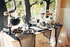 Elegant and Spooky Halloween Party Dessert Table | www.marigoldmom.com