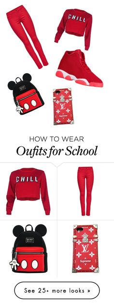 """Red and boujee"" by allcam on Polyvore featuring M&Co and Louis Vuitton"