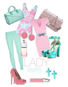 """""""LADY pastel"""" by fashionsketcher ❤ liked on Polyvore featuring NFY, Christian Dior, Jane Norman, See by Chloé, Oscar de la Renta, KG Kurt Geiger, Marc by Marc Jacobs, River Island, Miu Miu and Fraiche"""