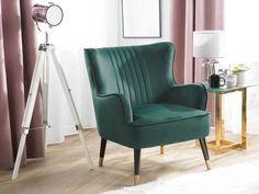 Velvet Wingback Chair Emerald Green VARBERG   Beliani.co.uk