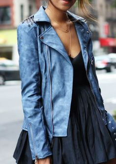 Nasty Gal Blue Spiked Moto Jacket Blue