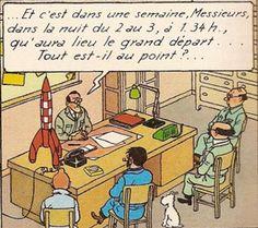 Dans le bureau de M Baxter au centre de recherches atomiques de Sbrodj en Syldavie - Objectif lune - Tintin - Hergé
