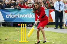 Cambridges renew their sporting rivalry on the cricket pitch.  The duke was bowling to the duchess in the South Island city of Christchurch in a children's event designed to promote the 2015 Cricket World Cup, which New Zealand will co-host with Australia. That at least was the idea, although as William took his run-up it seemed an occasion more concerned with the couple's sporting rivalry, which has already seen the duchess beat her husband in a sailing race in Auckland.